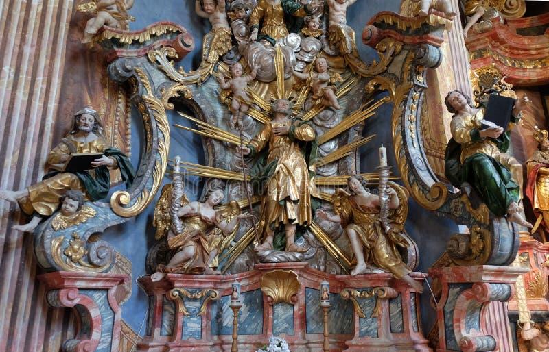 Altaar van Saint Joseph in de Kerk van Onze Dame van de Sneeuw in Belec, Kroatië stock foto's
