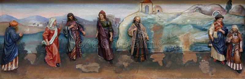 Altaarstuk op altaar van St Anthony Groot in de kerk van Heilige Matthew in Stitar, Kroatië royalty-vrije illustratie