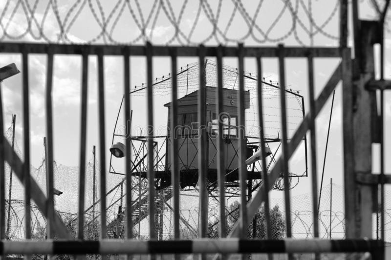 Prison gate in a Russian prison royalty free stock photo