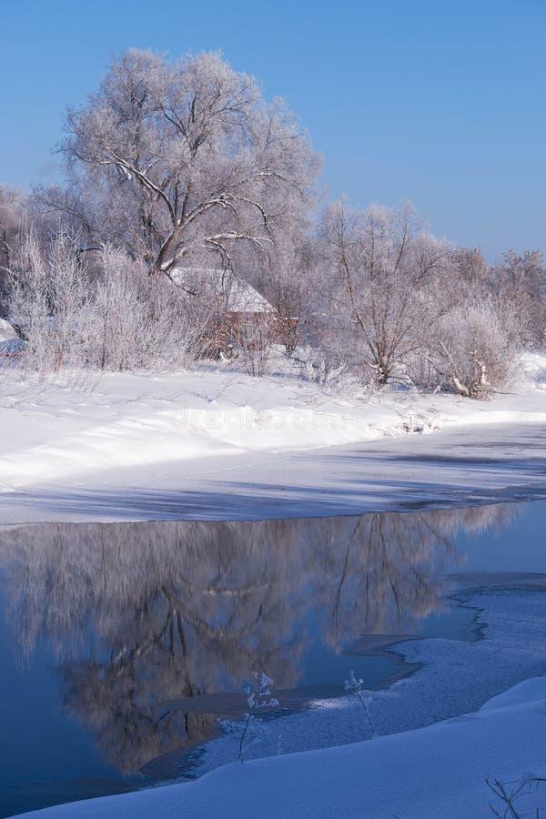 Altai kraju rosyjska wioska Talitsa pod zima śniegiem na banku rzeka zdjęcia royalty free