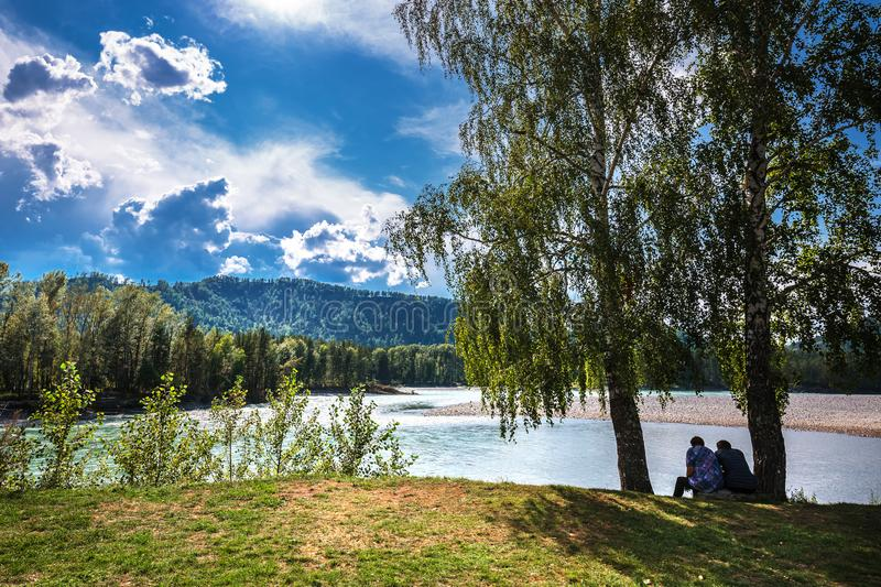 The Katun river in the summer. The Altai Mountains, Southern Sib. Altai mountains, southern Siberia, Russia-August 25, 2018: Katun mountain river with birches stock photos