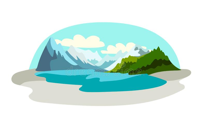 Altai republic icon vector illustration. Travel to Russia concept art cartoon style. royalty free illustration