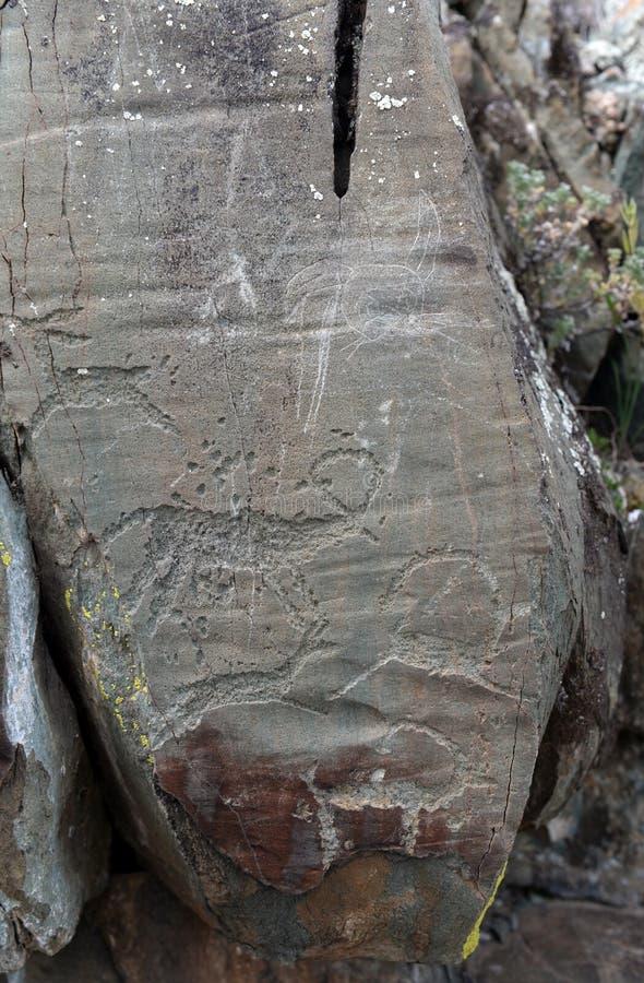 Rock petroglyphs in the tract Kalbak-Tash. ALTAI REPUBLIC, RUSSIA - JUNE 8, 2018: Rock petroglyphs in the tract Kalbak-Tash. Petroglyphs of different historical royalty free stock photo