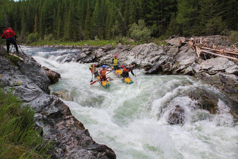 Altai-Republik Extremes Flößen auf dem Bashkaus-Fluss stockbild