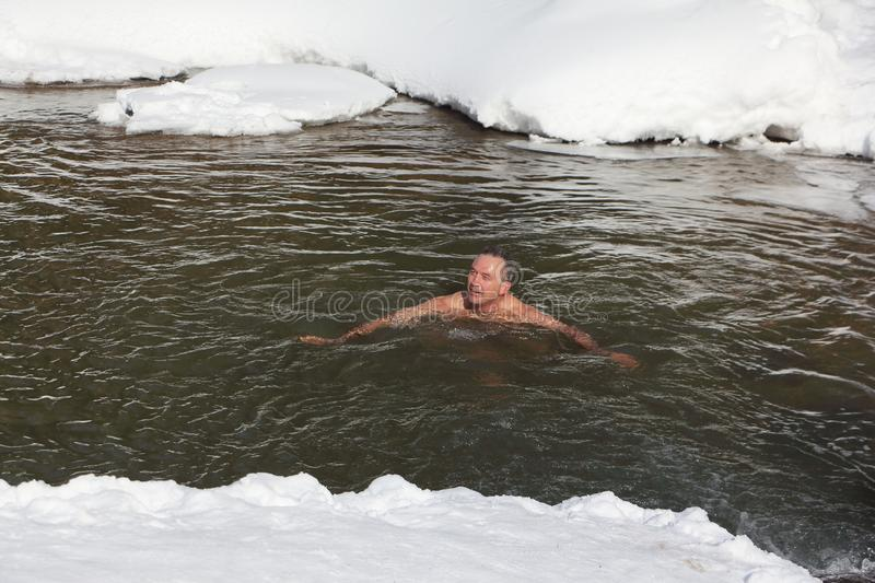 Cold trainings, man swimming in the Belokurikha River. Taken on - March, 11, 2017 in Altai Territory, Belkurikha city, Russia. Altai Territory, Belkurikha city royalty free stock photos