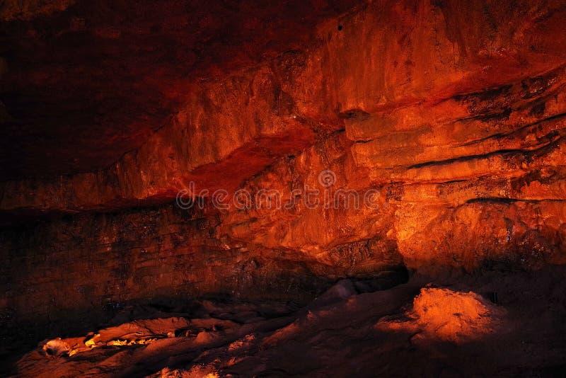 ALTAMIRA, CANTABRIA, SPAGNA, IL 29 LUGLIO 2018: Vista interna della caverna del museo di Altamira immagini stock libere da diritti