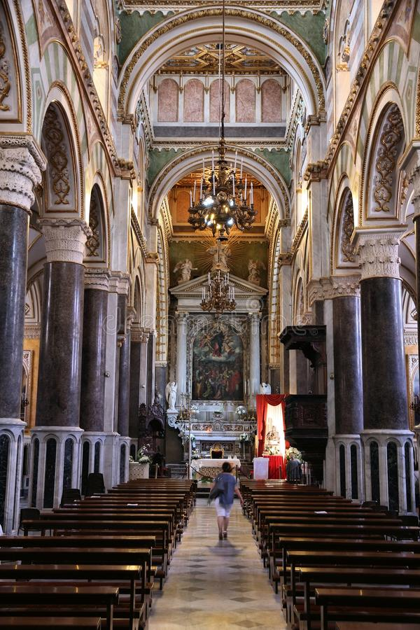Altamura Cathedral. ALTAMURA, ITALY - JUNE 4, 2017: People visit the Cathedral of Altamura in Italy. Altamura Cathedral was built by Emperor Frederick II in 1232 stock images