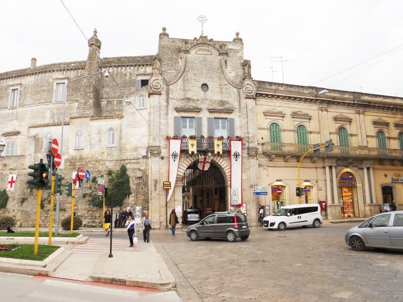 Altamura gate. The main gate of the meideval town of altamura in italy stock images