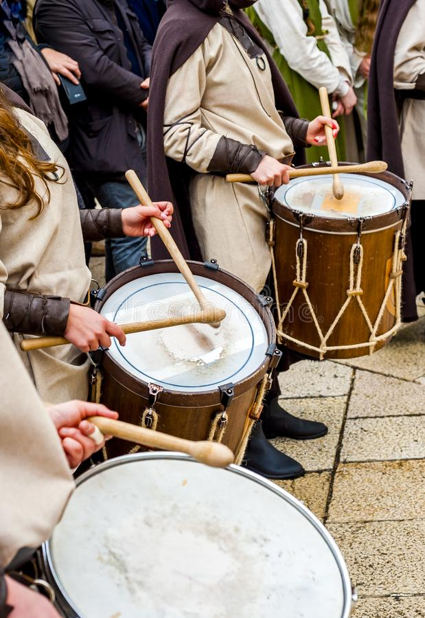 Musical group in medieval costume parade through the streets of Altamura. Altamura, Italy - April 25, 2016: musical group in medieval costume parade through the stock photo