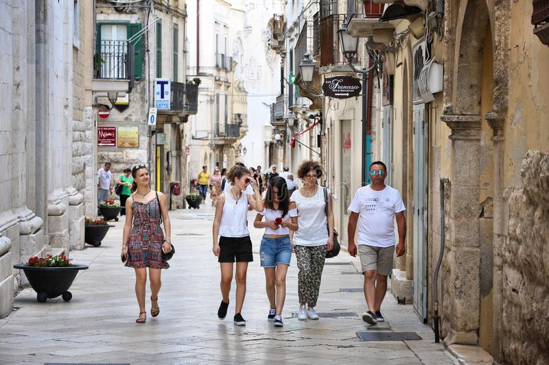 Altamura, Italy. JUNE 4, 2017: People visit Old Town of Altamura in Italy. Altamura is a major city in Apulia, with population of 70,556 royalty free stock photography