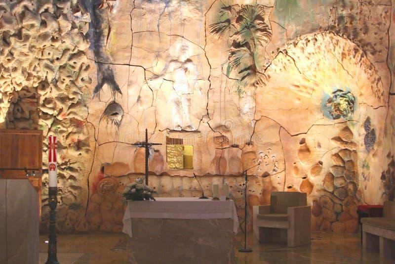 Artistic altar with modern artworks in Cathedral Santa Maria (La Seu), Palma, Mallorca stock photos