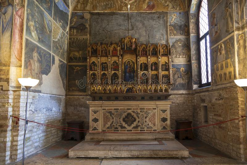 The altar in the Baptistery in Padua, and is adjacent to the Cathedral of Padua, dedicated to the Dormition of the virgin, Padua. Italy stock photo