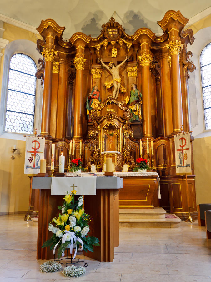 Altar In A Baroque Church In Germany Stock Image