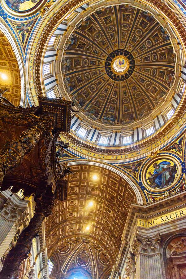 Altar with Bernini`s baldacchino. Interior of Saint Peter`s Basilica in Vatican. Vatican city, Vatican - October 05, 2018: Altar with Bernini`s baldacchino royalty free stock image