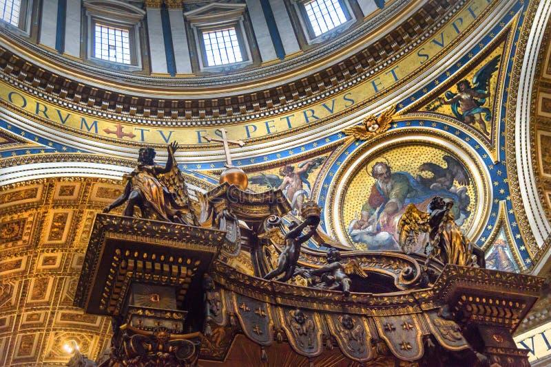 Altar with Bernini`s baldacchino. Interior of Saint Peter`s Basilica in Vatican. Vatican city, Vatican - October 05, 2018: Altar with Bernini`s baldacchino stock photography