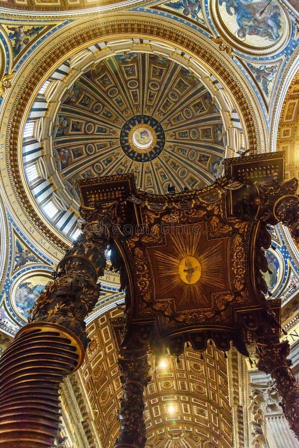 Altar with Bernini`s baldacchino. Interior of Saint Peter`s Basilica in Vatican. Vatican city, Vatican - October 05, 2018: Altar with Bernini`s baldacchino stock image
