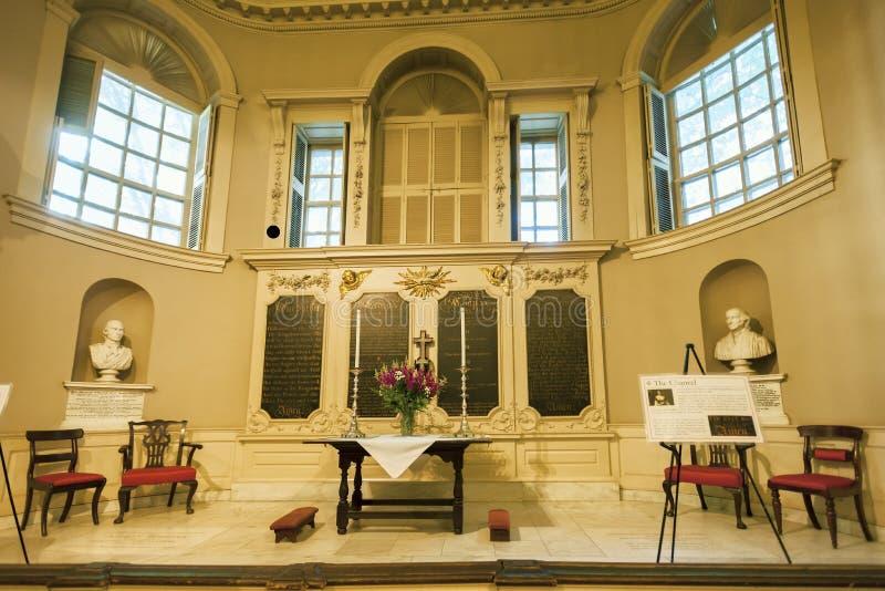 Altar at Boston Massachusetts Kings Chapel stock photo