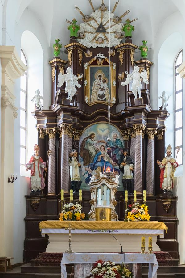 Altar in a Catholic Church. There is some digital noise, shot at high ISO. Altar in a Catholic Church in Belarus. There is some digital noise, shot at high ISO stock photography