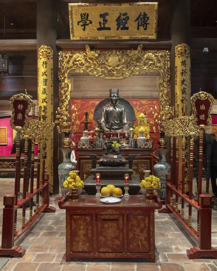 Altar a Chu Văn, rector de la academia imperial fotos de archivo