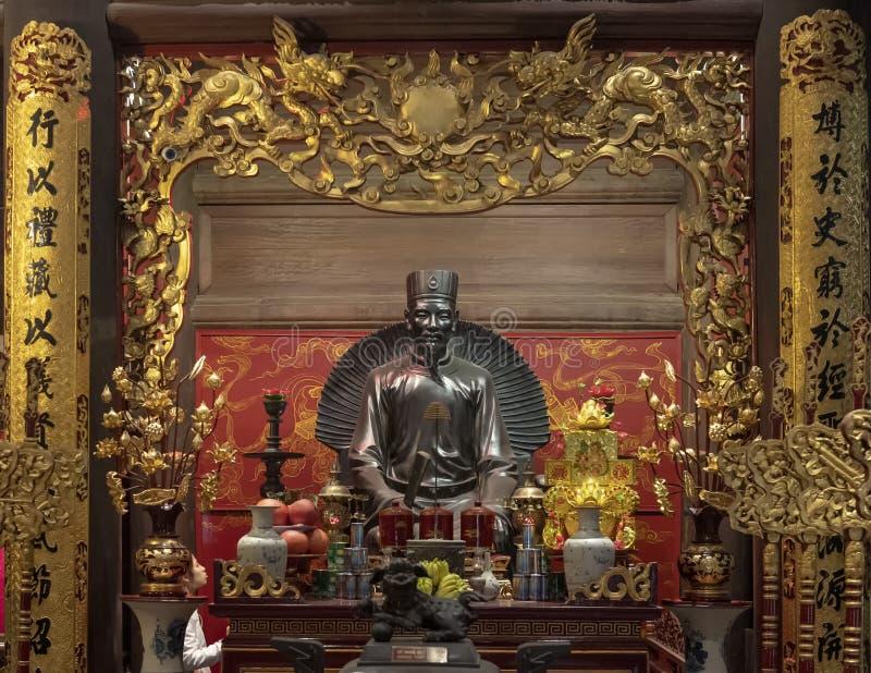 Altar a Chu Văn, rector de la academia imperial foto de archivo