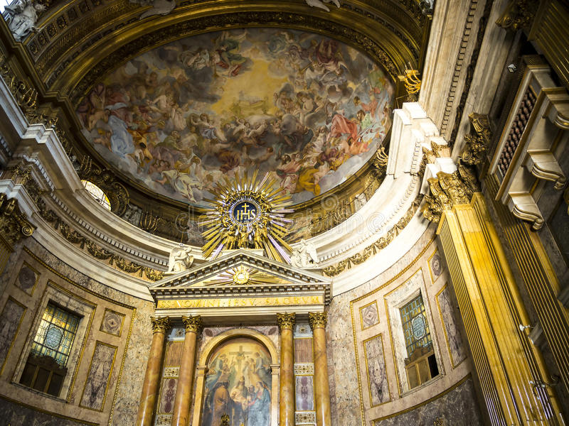 Altar in the Church of the Gesù is located in the Piazza del Gesù in Rome stock photography