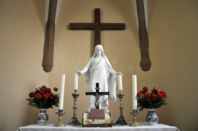 Altar cristiano con Jesús foto de archivo libre de regalías