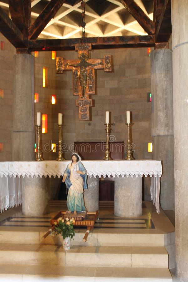 Altar, The Church of the Annunciation, Nazareth, Israel stock image