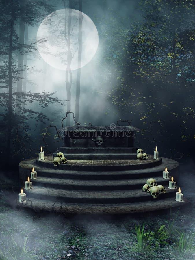 Altar da fantasia com velas e crânios ilustração royalty free
