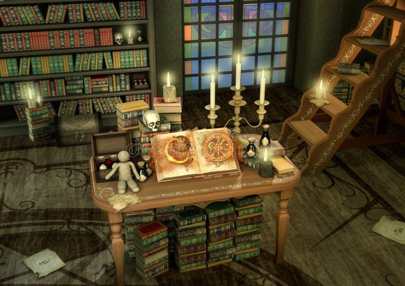 Altar de la brujería con las velas, los libros y la muñeca del vudú ilustración del vector