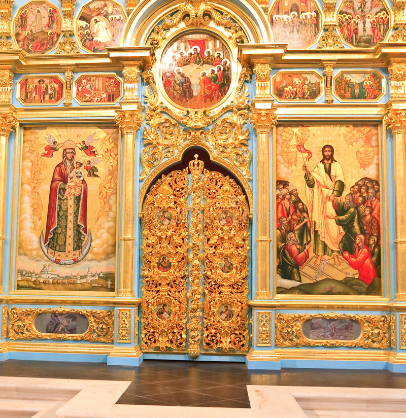 Altar de la catedral de la resurrección Nuevo monasterio de Jerusalén Istra Región de Moscú fotografía de archivo