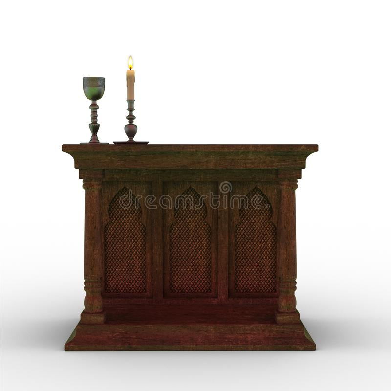 altar de madeira fantasia isolado em branco ilustração stock