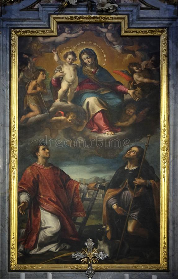 Altar de nuestra señora de tolerancias en la catedral del santo Lorenzo en Lugano fotografía de archivo libre de regalías