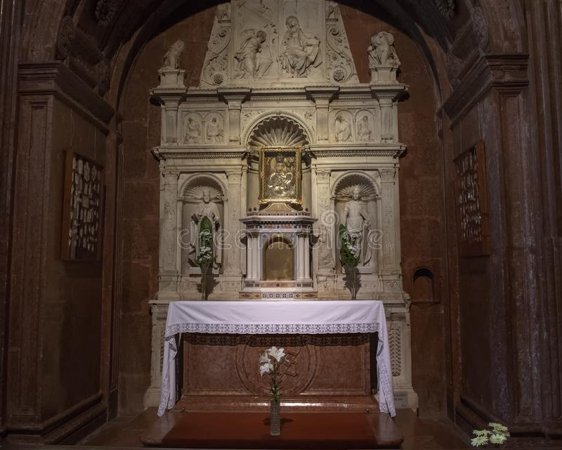 Altar dedicated to the Blessed Virgin Mary and the infant Jesus inside the Esztergom Basilica, Esztergom, Hungary. Pictured is an Altar dedicated to the Blessed stock images