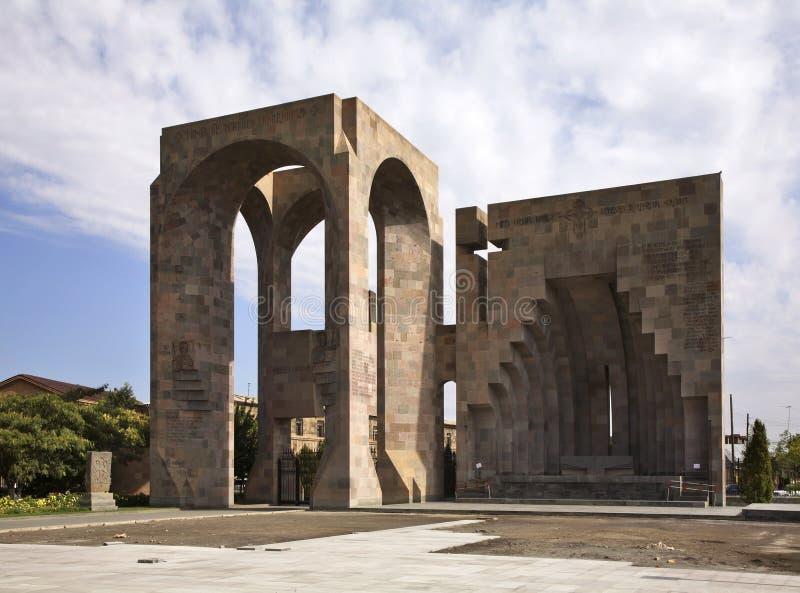 Altar del aire abierto en el monasterio de Etchmiadzin armenia foto de archivo