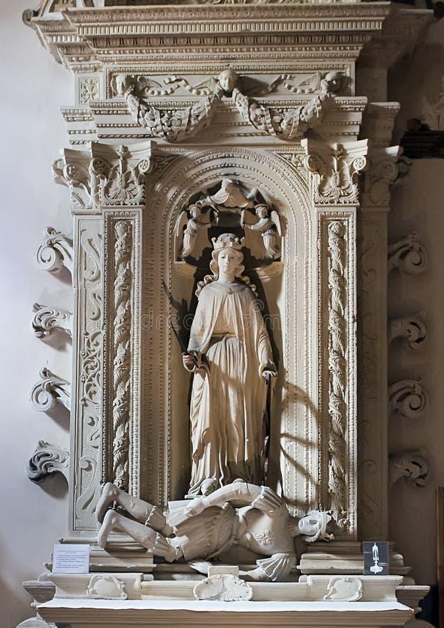 Altar del santo Catherine de Alexandría, ` Alejandría, Galatina, Italia de Santa Caterina d de los di de la basílica foto de archivo