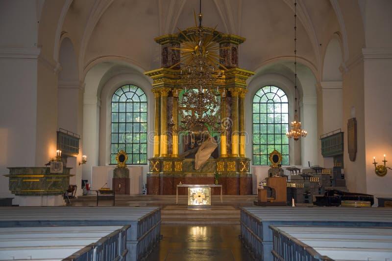 Altar dell'antica chiesa luterana di Santa Caterina, Stoccolma immagine stock libera da diritti
