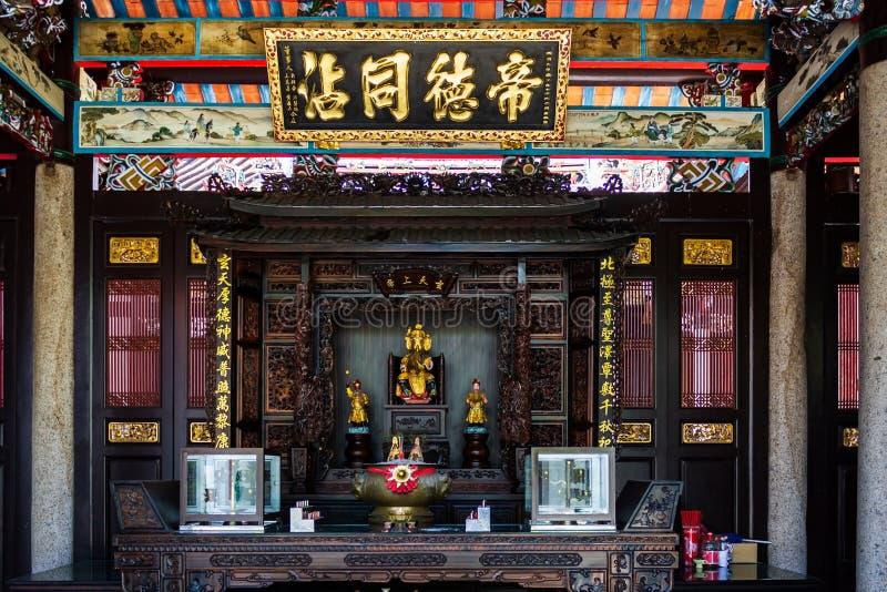 Altar des Han Jiang Ancestral Temple, ein taoistischer Teochew-Tempel von Georgetown in Penang, Malaysia stockfotografie