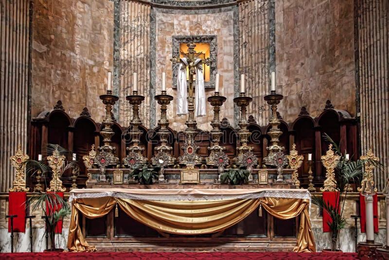 Altar do panteão Detalhes e o interior do R antigo foto de stock