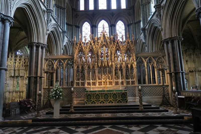 Altar of Ely Cathedral - one of the most important gothic monuments in England. In Great Britain stock images