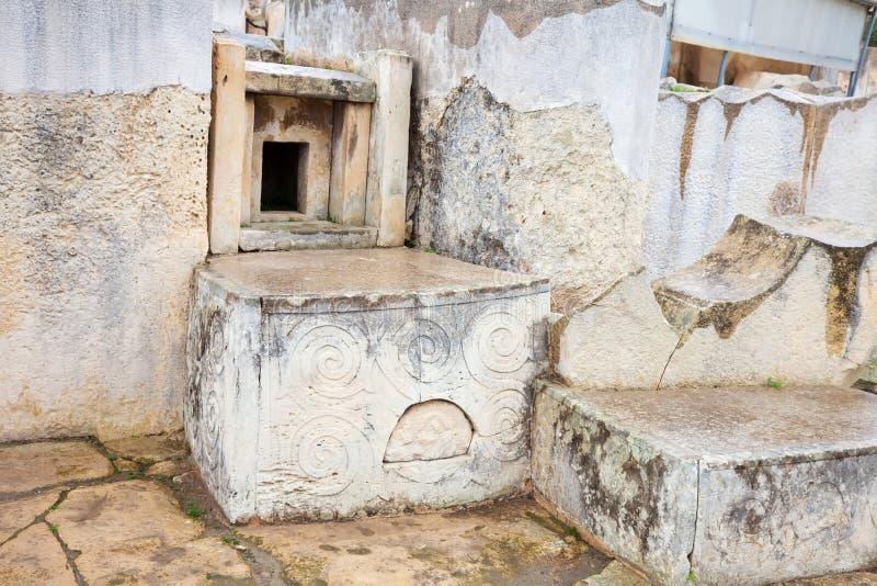 Altar em templos de Tarxien imagens de stock
