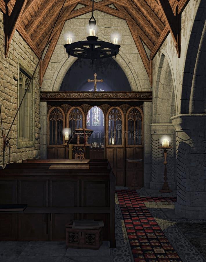 Altar em uma igreja velha ilustração royalty free