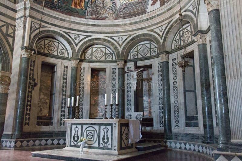 Altar inside Basilica San Miniato al Monte, Florence, Tuscany, Italy royalty free stock photography