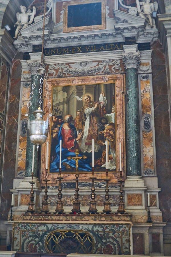 altar inside san pietro royalty free stock photos