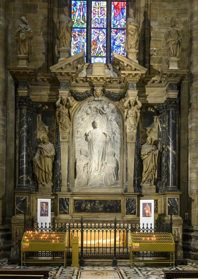Altar of Jesus Christ and the Last Supper inside the Milan Cathedral, the cathedral church of Milan, Lombardy, Italy. royalty free stock photography
