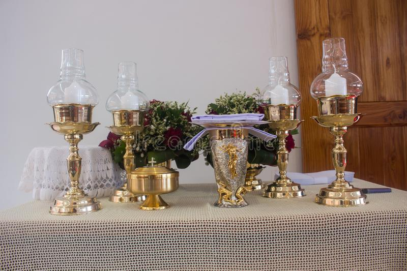 The altar is lit by the sunlight. Altar is lit by sunlight royalty free stock photo