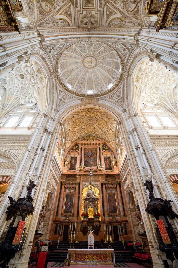 Altar maggiore della cattedrale di Cordova fotografia stock