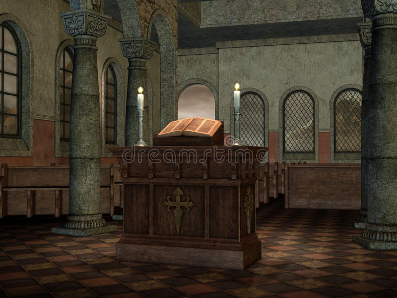 Download Altar in a medieval church stock illustration. Image of illustration - 26883191