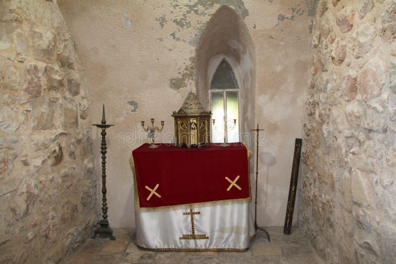 Altar, monasterio de la cruz, Jerusalén, Israel imagen de archivo libre de regalías
