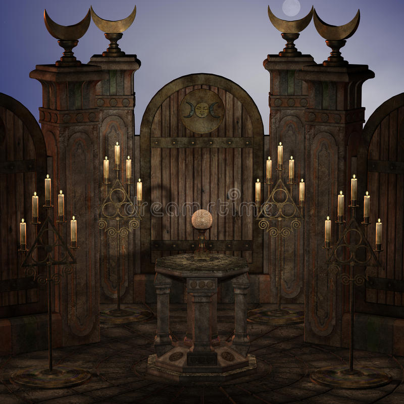 Altar o lugar sagrado arcaico en una configuración de la fantasía stock de ilustración