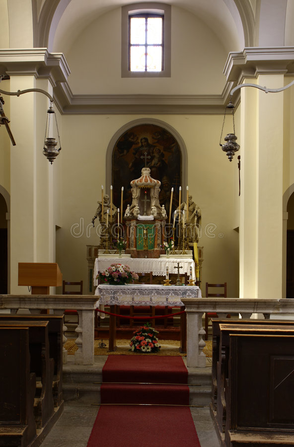 Altar in the old church royalty free stock photography